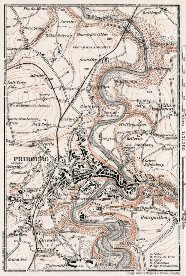 Fribourg and environs, 1909. Use the zooming tool to explore in higher level of detail. Obtain as a quality print or high resolution image