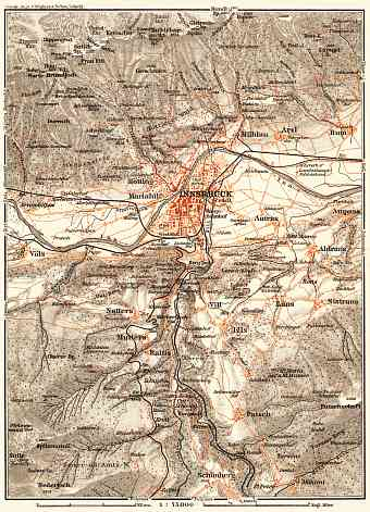 Innsbruck and environs map, 1911