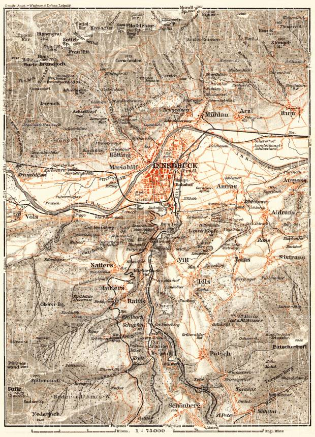 Innsbruck and environs map, 1911. Use the zooming tool to explore in higher level of detail. Obtain as a quality print or high resolution image