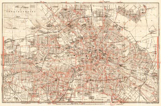 Berlin, city map with tramway and S-Bahn networks, 1910. Use the zooming tool to explore in higher level of detail. Obtain as a quality print or high resolution image