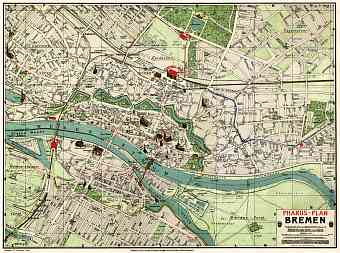 Map Of Bremen Germany.Historical Map Prints Of Bremen In Germany For Sale And Download