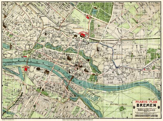 Map Of Bremen Germany.Bremen City Map About 1912