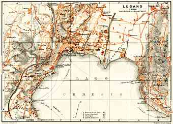 Lugano city map, 1908