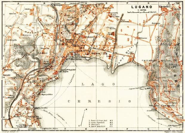 Lugano city map, 1908. Use the zooming tool to explore in higher level of detail. Obtain as a quality print or high resolution image