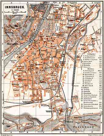 Innsbruck city map, 1911