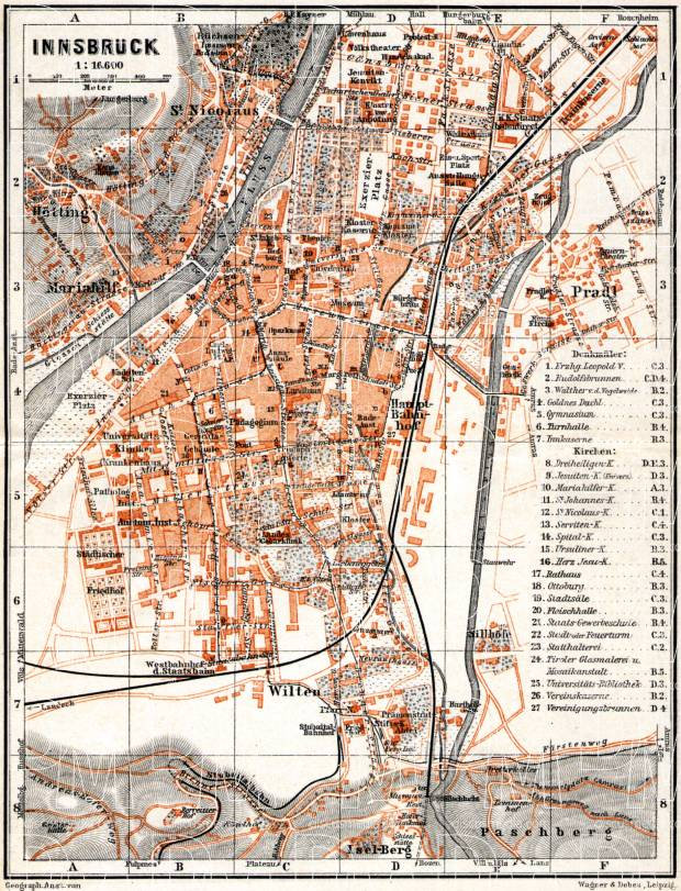 Innsbruck city map, 1911. Use the zooming tool to explore in higher level of detail. Obtain as a quality print or high resolution image