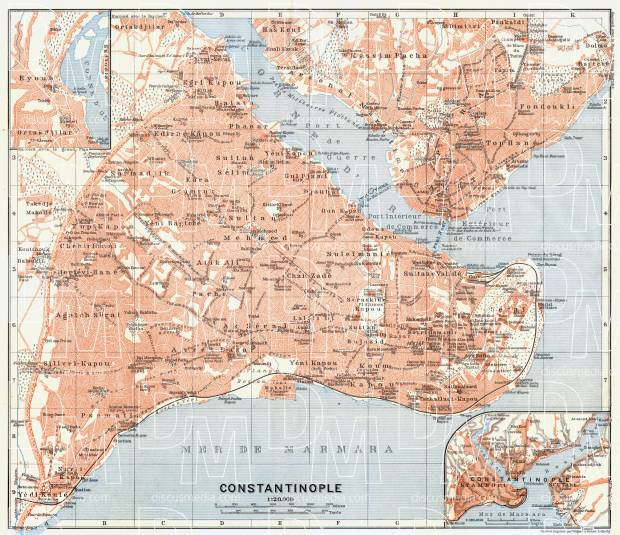 Constantionople (قسطنطينيه, İstanbul, Istanbul) city map, 1905. Use the zooming tool to explore in higher level of detail. Obtain as a quality print or high resolution image