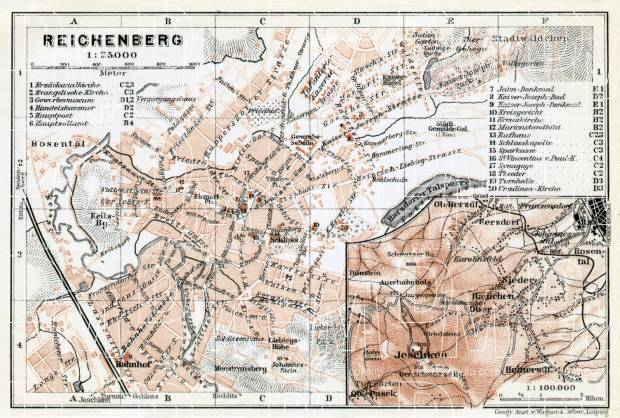 Reichenberg (Liberec), city map. Der Jeschken (Ještěd) and environs map, 1910. Use the zooming tool to explore in higher level of detail. Obtain as a quality print or high resolution image