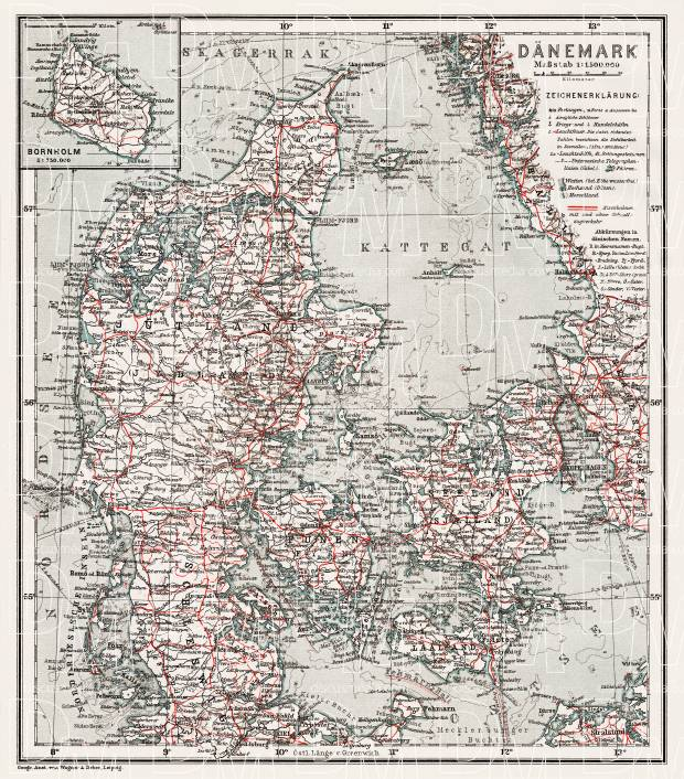 Denmark General Map, 1911. Use the zooming tool to explore in higher level of detail. Obtain as a quality print or high resolution image