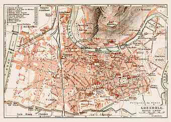 Historical map prints of Grenoble in France for sale and download