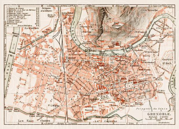 Grenoble city map, 1913. Use the zooming tool to explore in higher level of detail. Obtain as a quality print or high resolution image