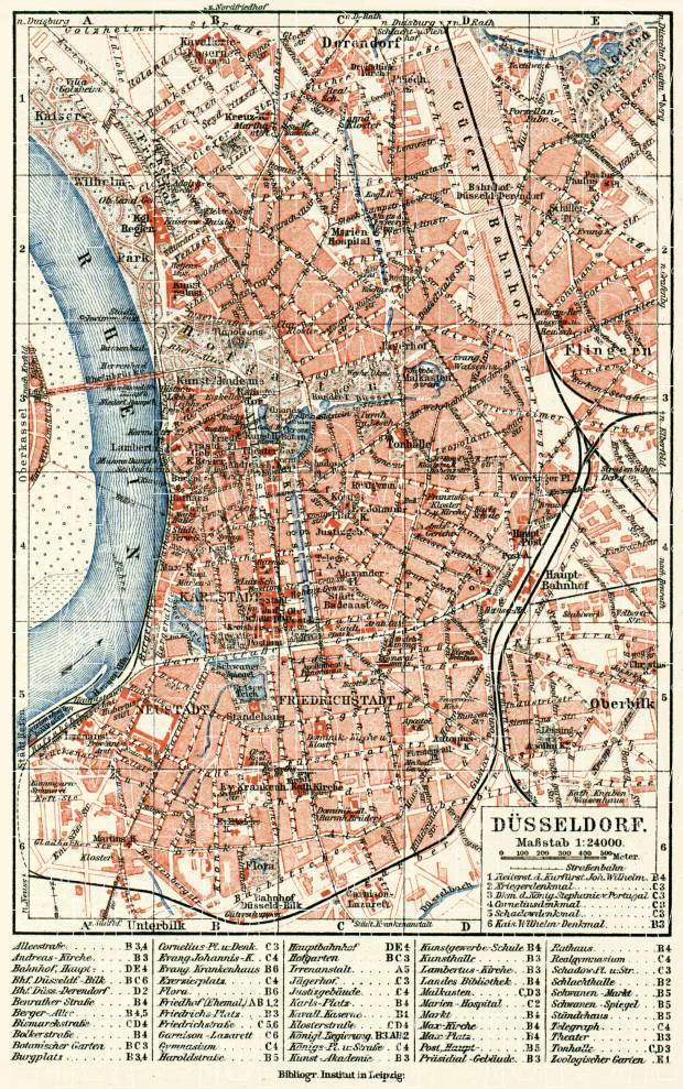 Düsseldorf city map, about 1900. Use the zooming tool to explore in higher level of detail. Obtain as a quality print or high resolution image