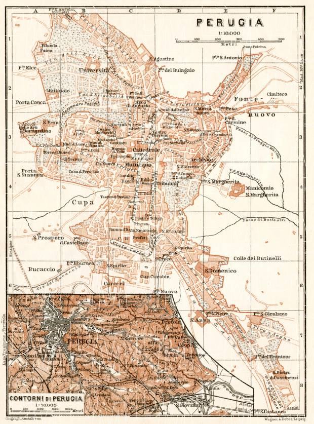 Perugia, city map. Environs of Perugia map, 1909. Use the zooming tool to explore in higher level of detail. Obtain as a quality print or high resolution image