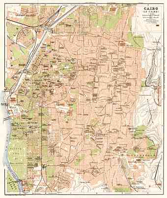 Cairo (القاهرة, al-Qāhirah) city map, 1911