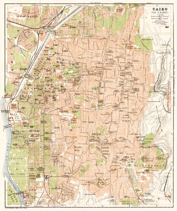 Cairo (القاهرة, al-Qāhirah) city map, 1911. Use the zooming tool to explore in higher level of detail. Obtain as a quality print or high resolution image