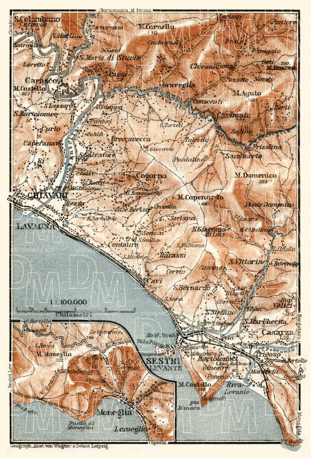 Sestri Levante and environs map, 1913. Use the zooming tool to explore in higher level of detail. Obtain as a quality print or high resolution image