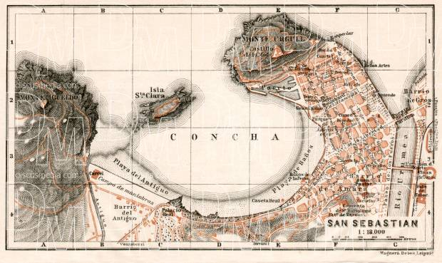 Old map of San Sebastián (Donostia) in 1902. Buy vintage map replica ...