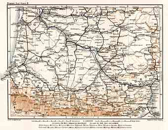 France, southwestern part map (Bordeaux, Gascogne, Gyuenne…), 1902