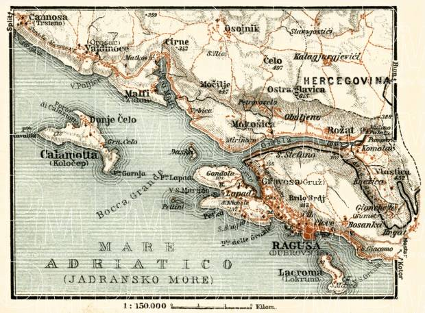 Old map of ragusa dubrovnik vicinity in 1929 buy vintage map ragusa dubrovnik environs map 1929 use the zooming tool to explore in gumiabroncs Gallery
