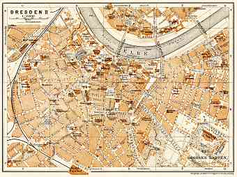 Dresden central part map, 1906