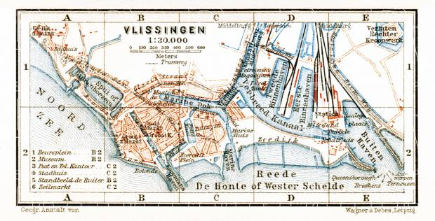 Vlissingen city map, 1904. Use the zooming tool to explore in higher level of detail. Obtain as a quality print or high resolution image