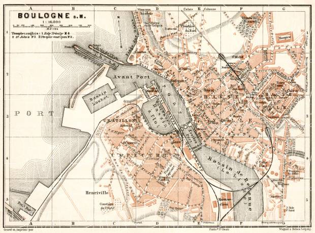 Boulogne-sur-Mer city map, 1909. Use the zooming tool to explore in higher level of detail. Obtain as a quality print or high resolution image