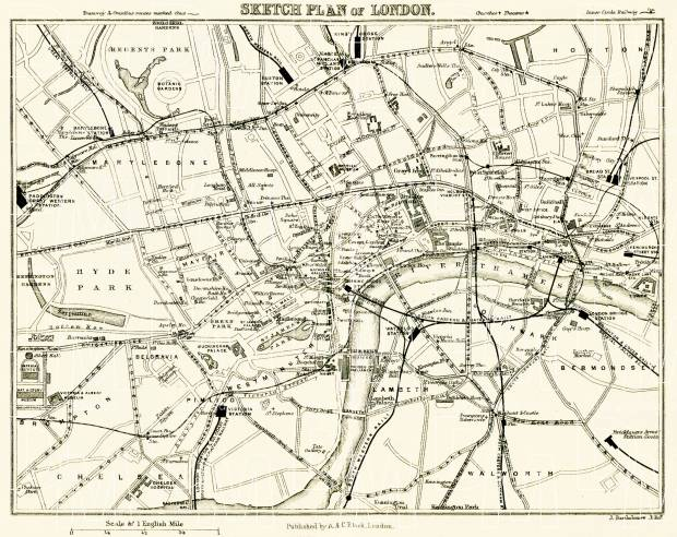 Sketch plan of London, 1907. Use the zooming tool to explore in higher level of detail. Obtain as a quality print or high resolution image