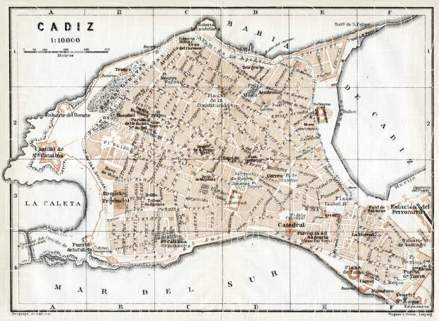 Cádiz city map, 1913. Use the zooming tool to explore in higher level of detail. Obtain as a quality print or high resolution image