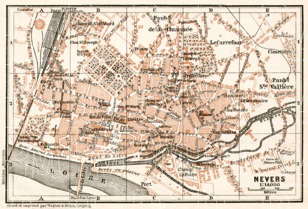 Nevers city map, 1909. Use the zooming tool to explore in higher level of detail. Obtain as a quality print or high resolution image
