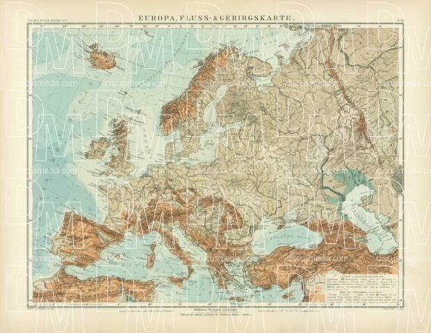 Physical Map of Europe, 1905