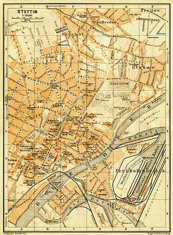 Historical map prints of Szczecin Stettin in Poland for sale and
