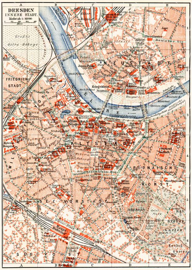 Dresden central part map, about 1910. Use the zooming tool to explore in higher level of detail. Obtain as a quality print or high resolution image