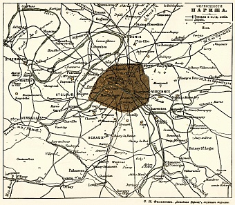 Paris environs map (legend in Russian), 1900