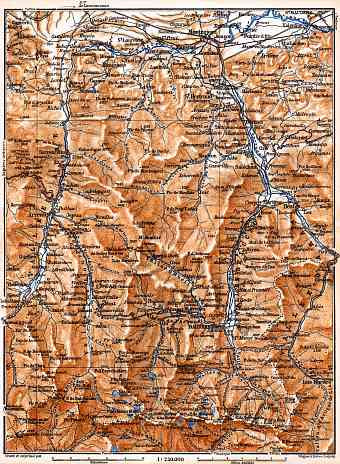 Aure and Luchon River valleys´ map, 1885