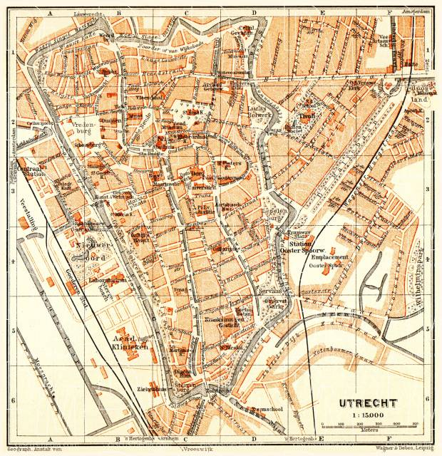Utrecht city map, 1904. Use the zooming tool to explore in higher level of detail. Obtain as a quality print or high resolution image