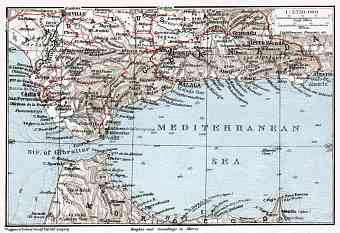 Morocco on the Western Mediterranean map, 1911