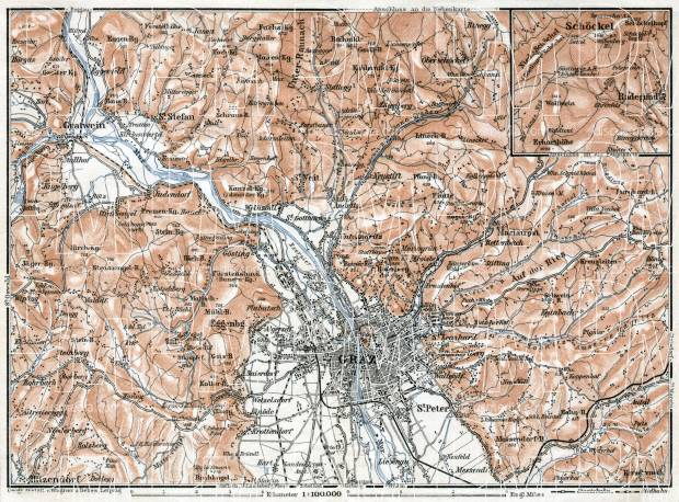 Graz region map, 1910. Use the zooming tool to explore in higher level of detail. Obtain as a quality print or high resolution image