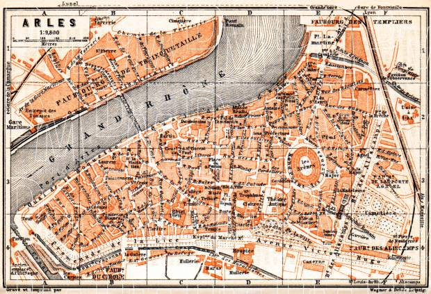 Arles city map, 1900. Use the zooming tool to explore in higher level of detail. Obtain as a quality print or high resolution image