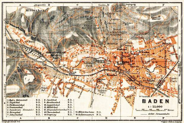 Baden to Vienna (Baden bei Wien), town plan, 1913. Use the zooming tool to explore in higher level of detail. Obtain as a quality print or high resolution image