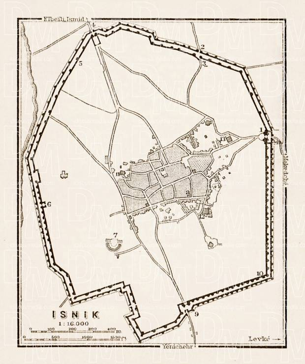 Isnik (Nikaea, İznik), ancient town site map, 1914. Use the zooming tool to explore in higher level of detail. Obtain as a quality print or high resolution image