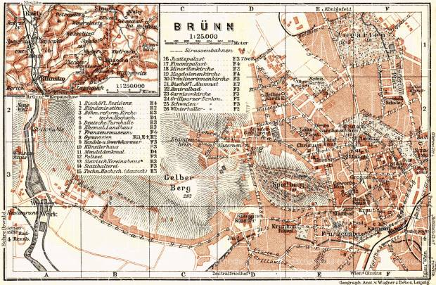Brünn (Brno), city map with environs map (Blansko), 1911. Use the zooming tool to explore in higher level of detail. Obtain as a quality print or high resolution image