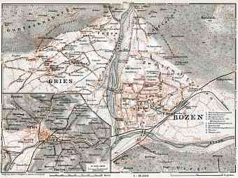 Bozen (Bolzano) and Gries, region map. Map of the environs of Bozen/Gries, 1910
