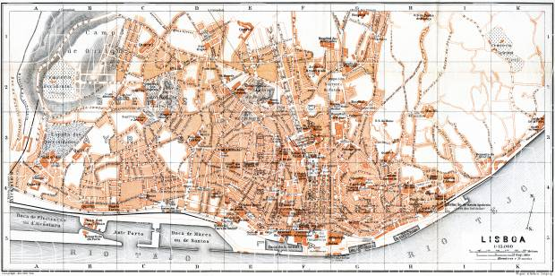 Lisbon (Lisboa) city map, 1899. Use the zooming tool to explore in higher level of detail. Obtain as a quality print or high resolution image