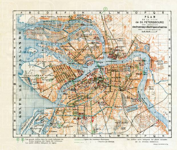 Saint Petersburg (Санктъ-Петербургъ, Sankt-Peterburg) city map, in French, 1914. Use the zooming tool to explore in higher level of detail. Obtain as a quality print or high resolution image