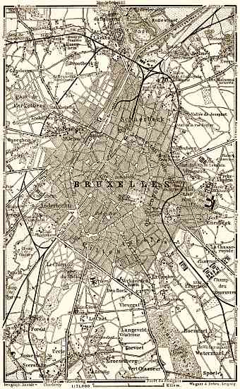Brussels (Brussel, Bruxelles) and environs map, 1903