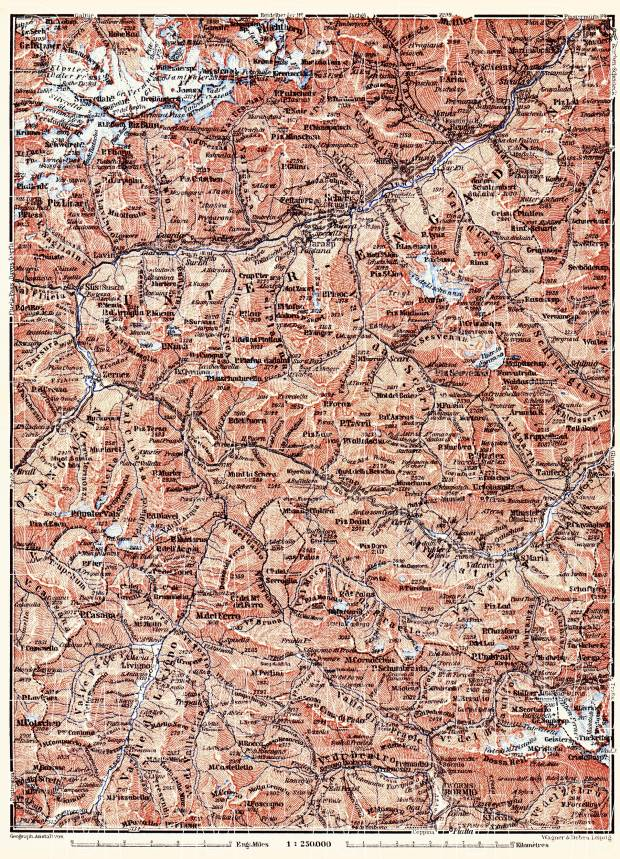 Basse-Engadine map, 1897. Use the zooming tool to explore in higher level of detail. Obtain as a quality print or high resolution image