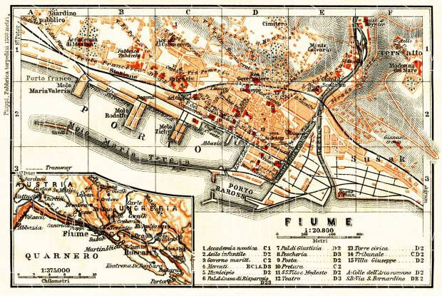 Rijeka (Fiume), city map. Map of the environs of Rijeka (Fiume), 1913. Use the zooming tool to explore in higher level of detail. Obtain as a quality print or high resolution image