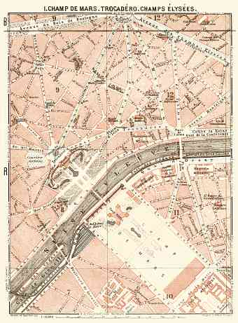 Central Paris districts map: Champ de Mars, Trocadéro and Champs-Élysées, 1903
