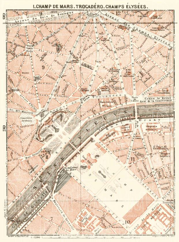 Old map of Champ de Mars, Trocadéro and Champs-Élysées in Paris in ...
