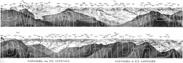 Panoramic View from Languard Mountain, 1897. Use the zooming tool to explore in higher level of detail. Obtain as a quality print or high resolution image